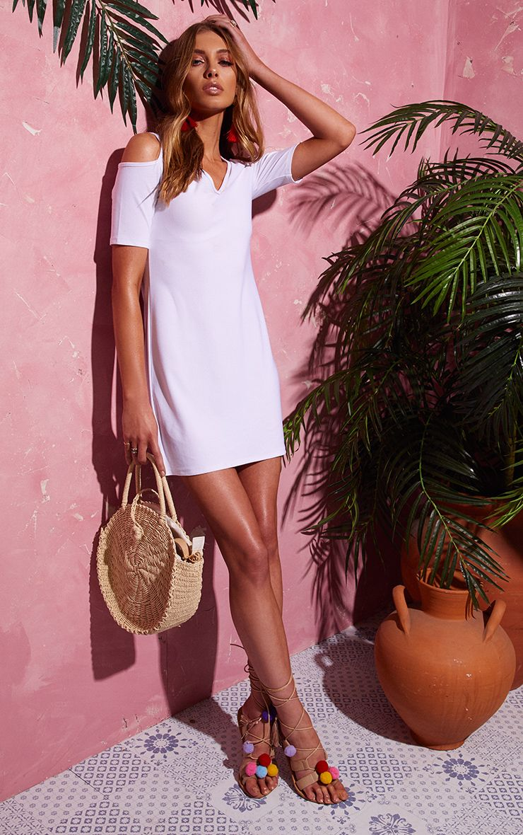 White Cold Shoulder Plunge Dress