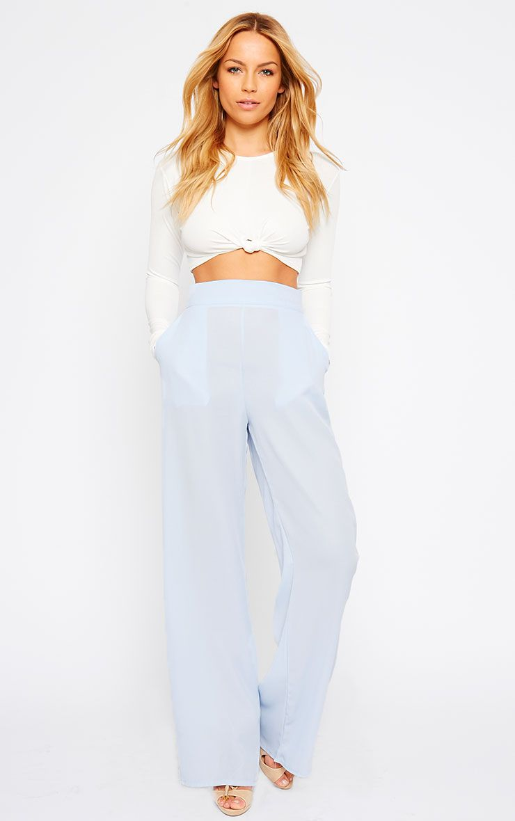 Theadora Powder Blue Chiffon Wide Leg Trousers 1