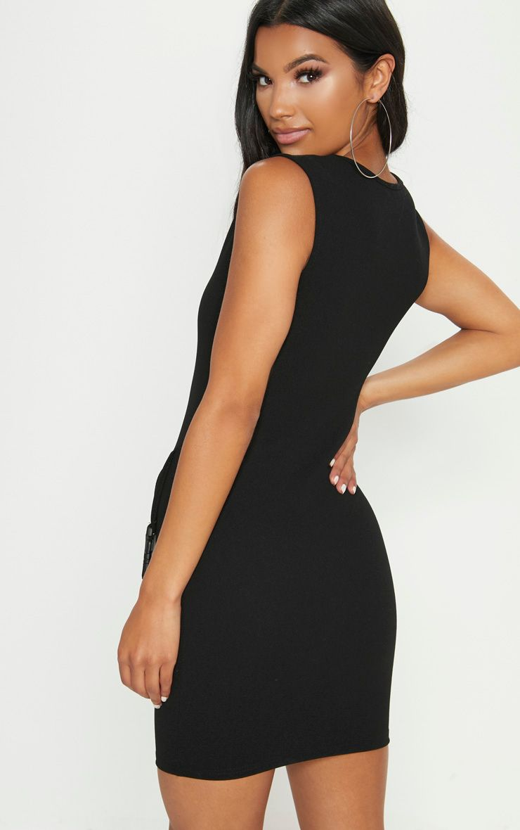 For Sale Online Low Shipping For Sale Black Square Neck Basque Buckle Bodycon Dress Pretty Little Thing qSCOn