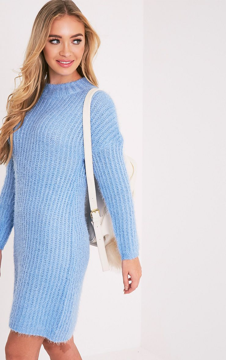 Gordania Powder Blue Knitted Oversized Mohair Dress 1