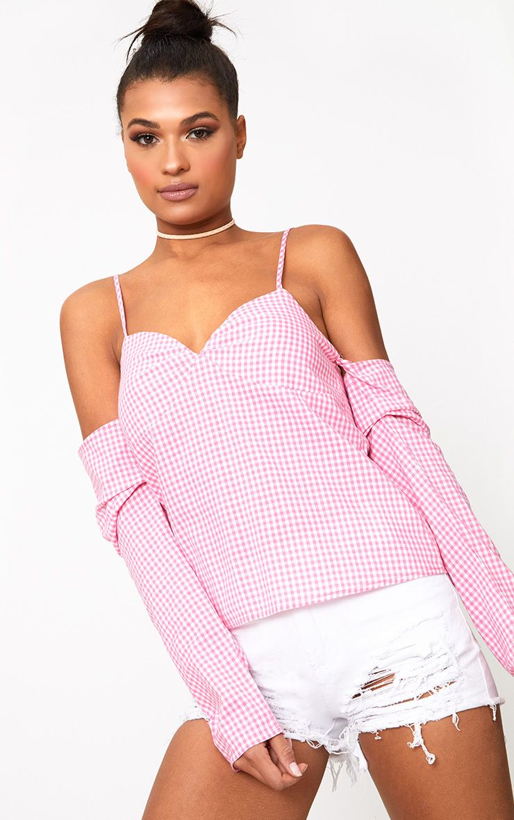Pink Gingham Cold Shoulder Frill Sleeve Shirt
