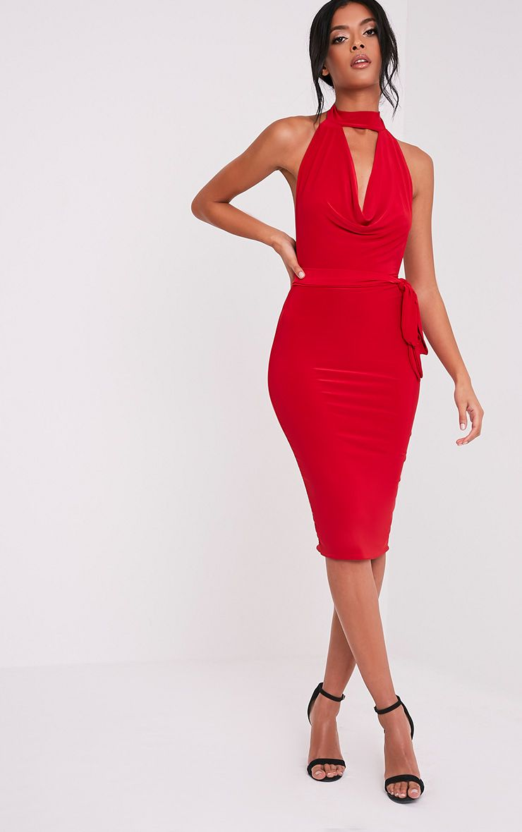 Carllia Red Slinky Choker Neck Cowl Midi Dress