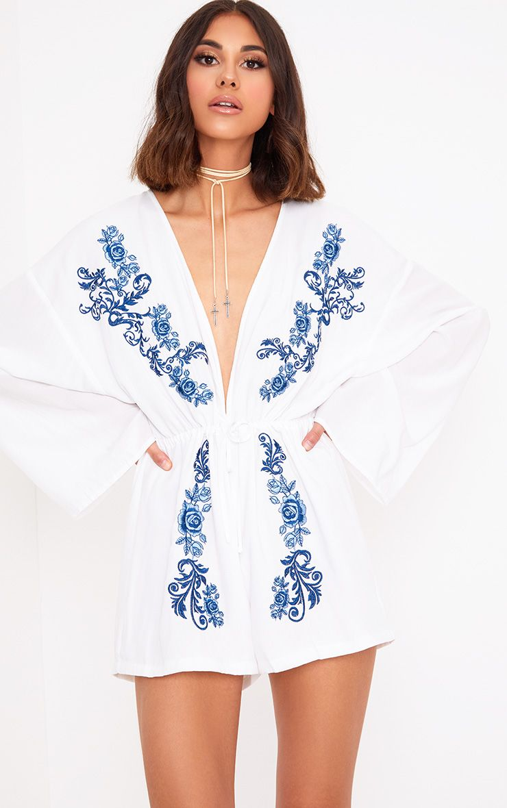 White Embroidered Plunge Playsuit