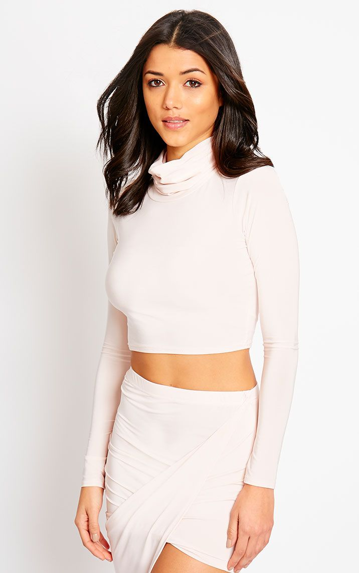 Alba Nude Roll Neck Crop Top 1