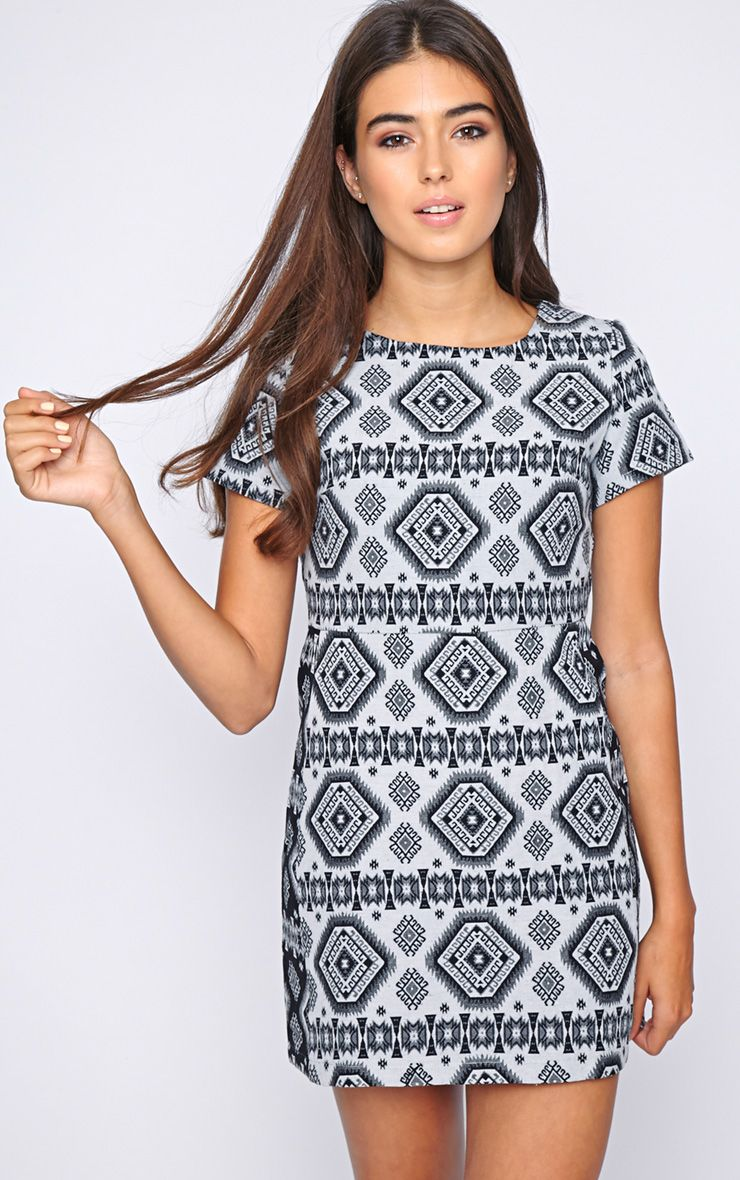Lettie Black Aztec Shift Dress 1