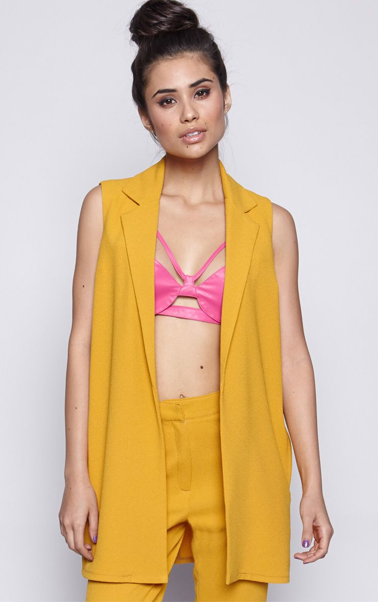Twiggy Mustard Sleeveless Blazer  1