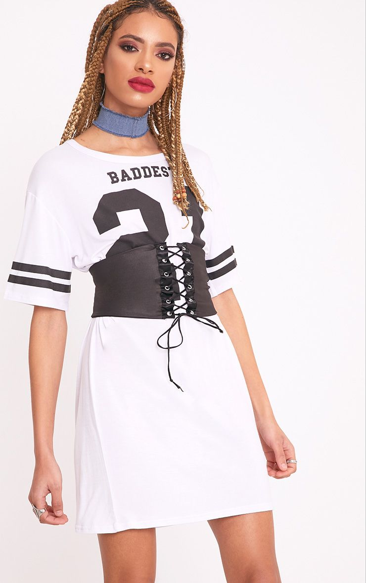 Baddest Slogan White Corset T-Shirt Dress