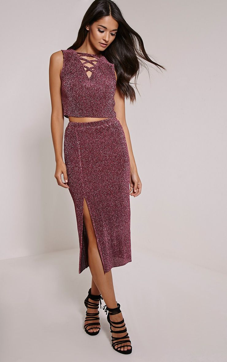Sira Rose Glitter Split Front Ribbed Midi Skirt 1