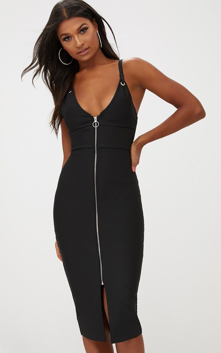Black Bandage Strappy O Ring Midi Dress