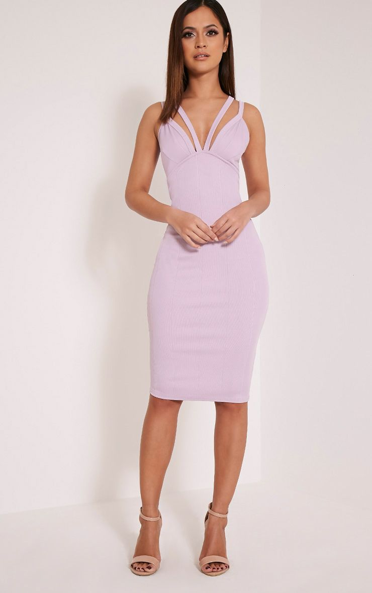 Kalle Mauve Bandage Detail Strappy Cup Midi Dress 1