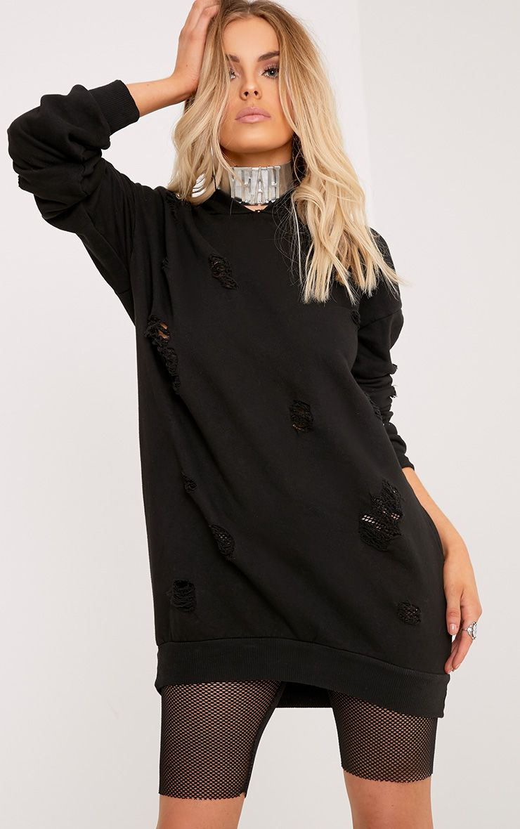 Janelle Black Loop Back Distressed Hooded Sweater Dress