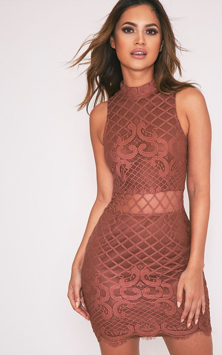 Aura Tobacco Lace Up Back Bodycon Dress