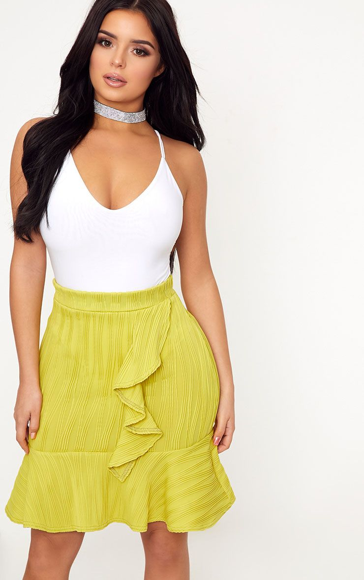 Shape Caterina Chartreuse Frill Detail Mini Skirt