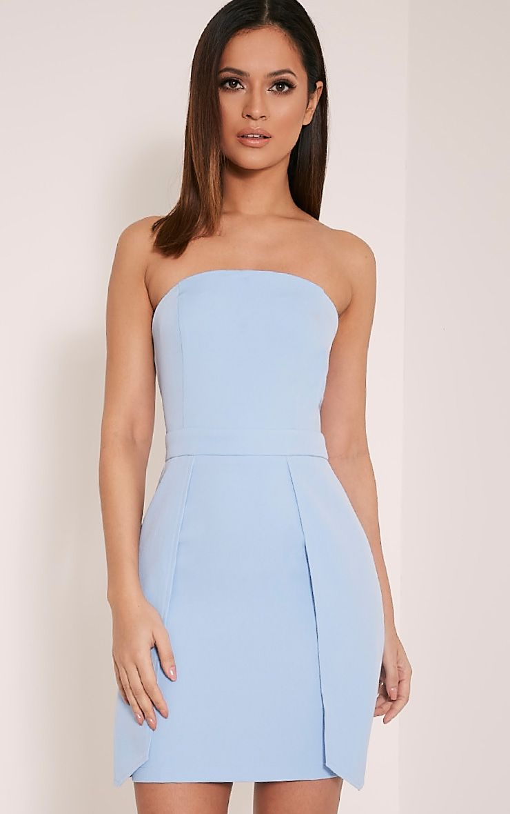 Jonna Dusty Blue Crepe Bandeau Mini Dress 1