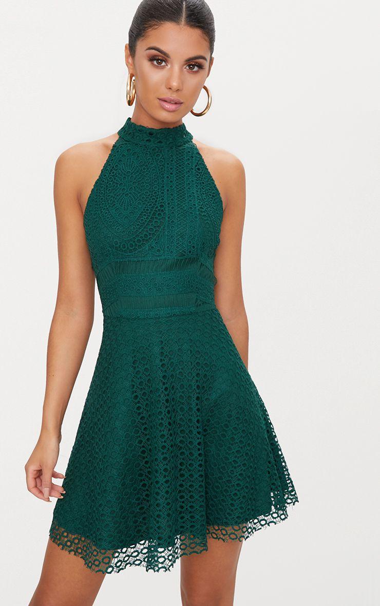 Mayaa lace panel dress green