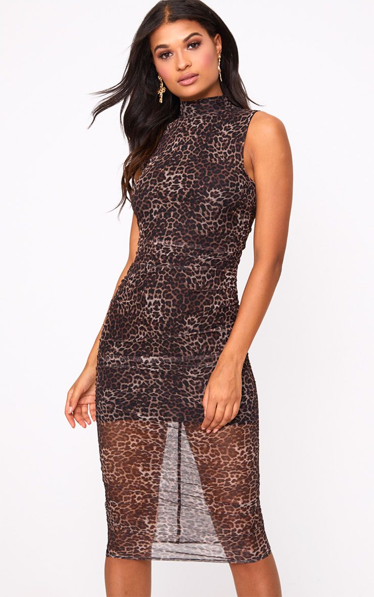 Brown Leopard Print Mesh Ruched Midi Dress