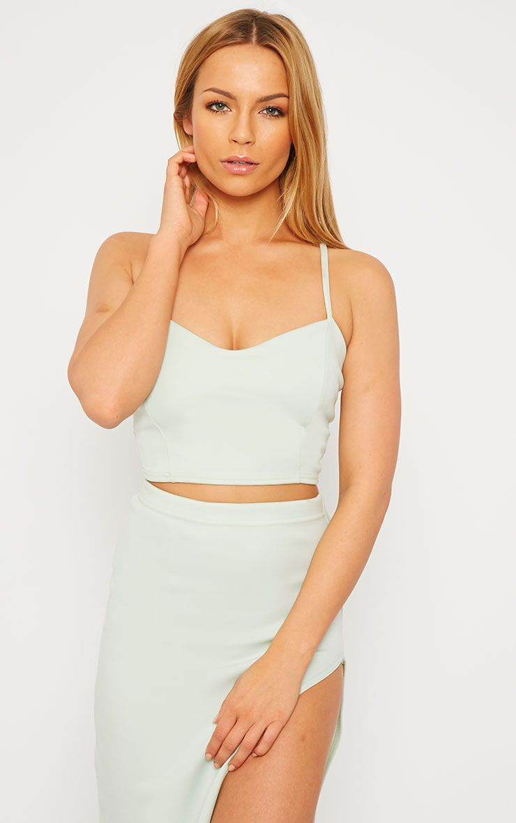 Savina Mint Cross Back Strap Crop Top 1
