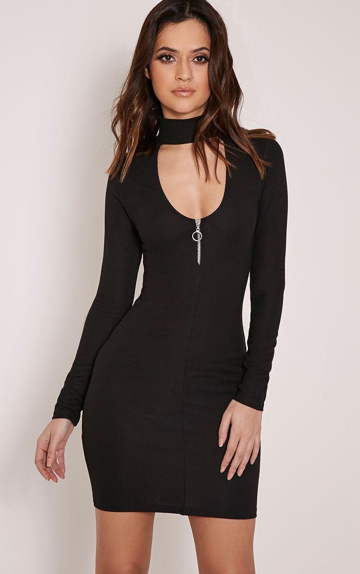 Marlene Black Circle Zip Detail Ribbed Bodycon Dress 1