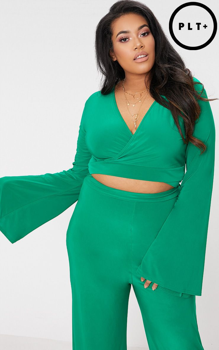 Plus Green Slinky Wrap Waist Crop Top