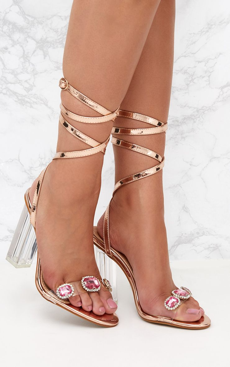 Rose Gold Jewelled Lace Up Heels