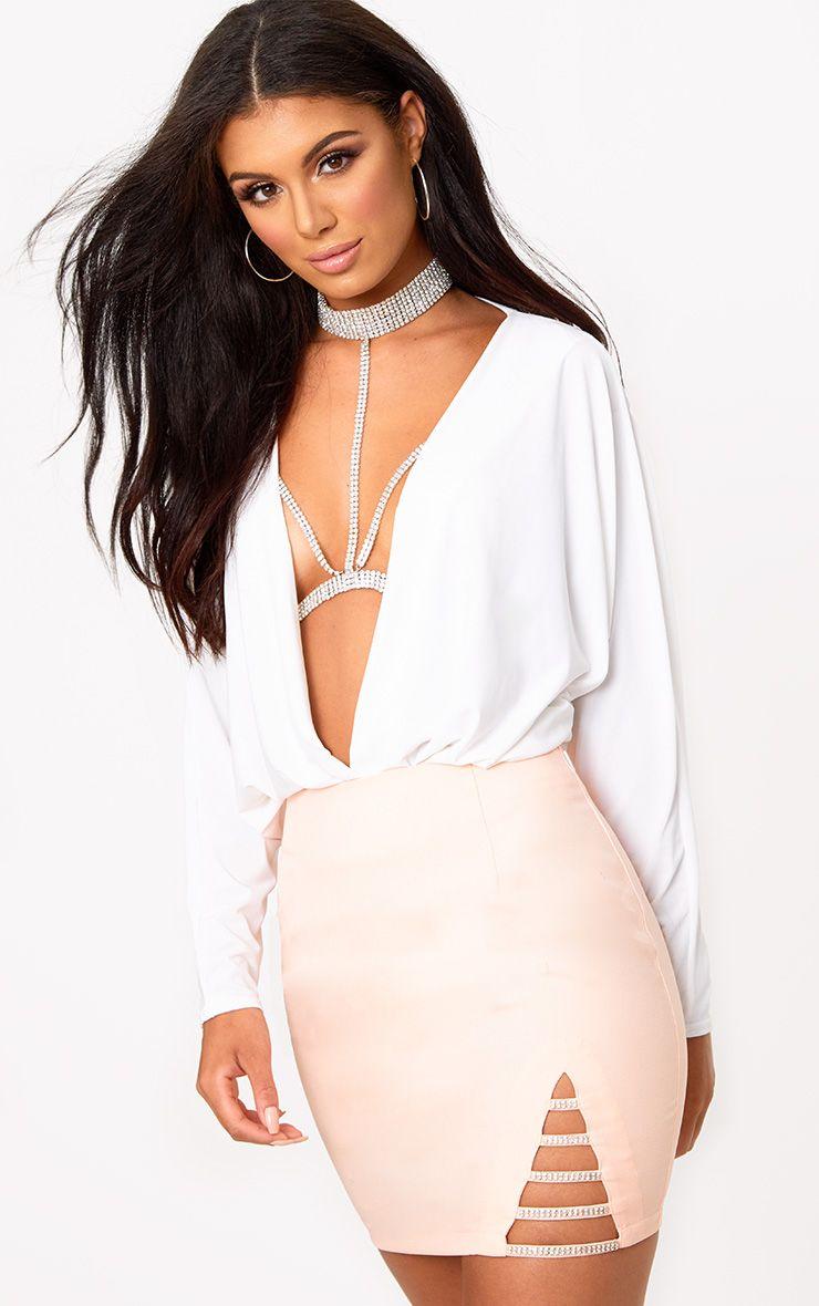 Nude Diamond Split Mini Skirt