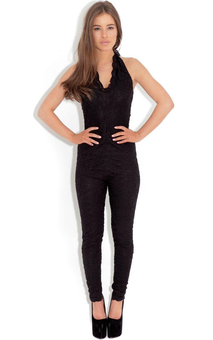 Kaylee Black Lace Halterneck Jumpsuit 1