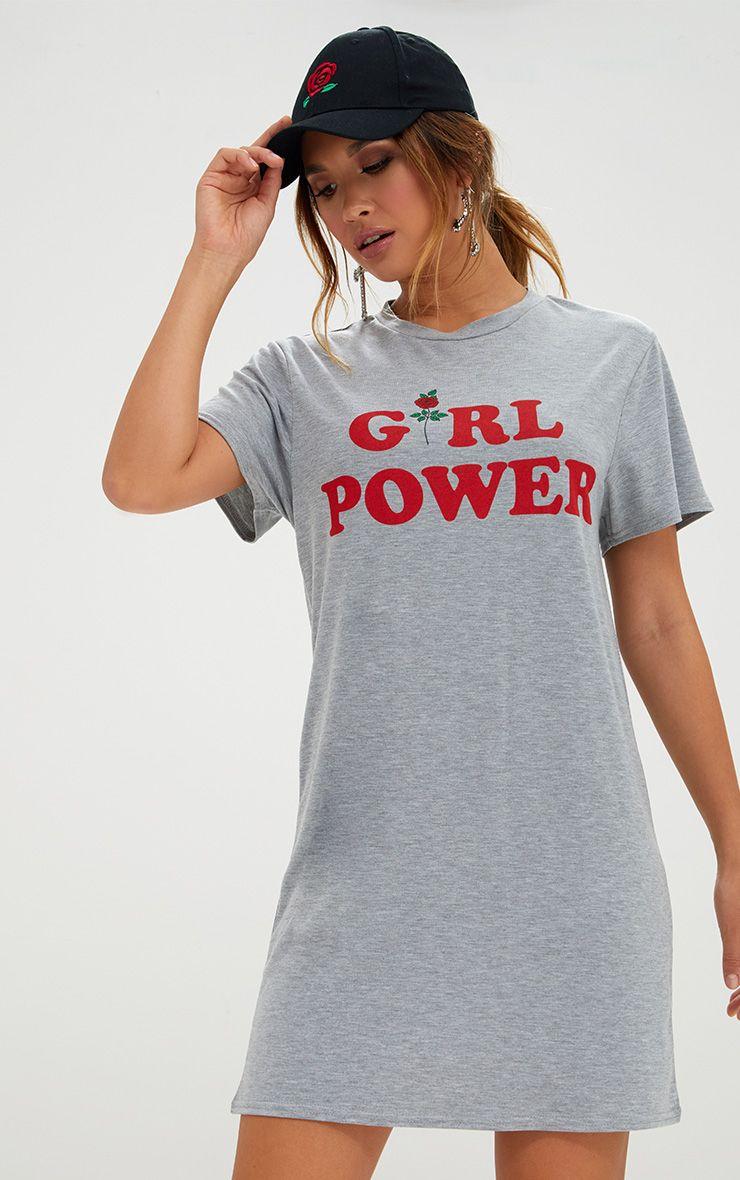 Grey Girl Power T Shirt Dress