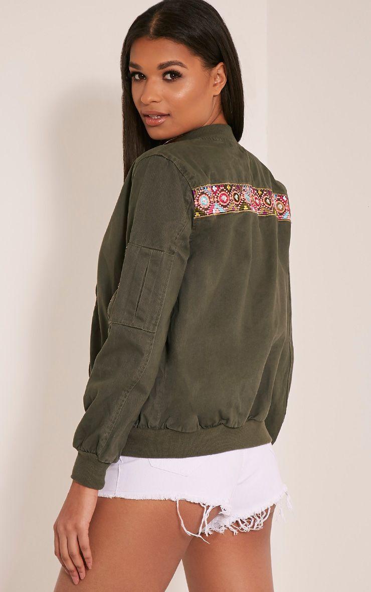 Vivie Khaki Embroidered Detail Bomber Jacket 1