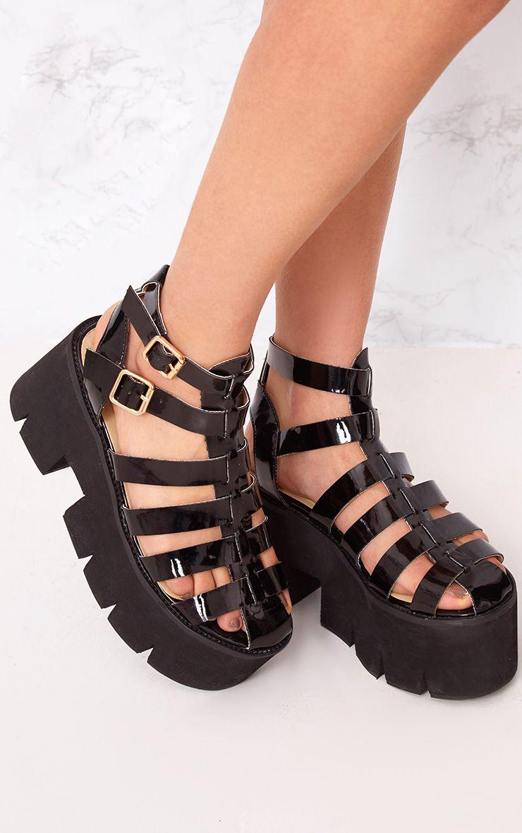 Jovana sandales à plateformes plates à crampons noires