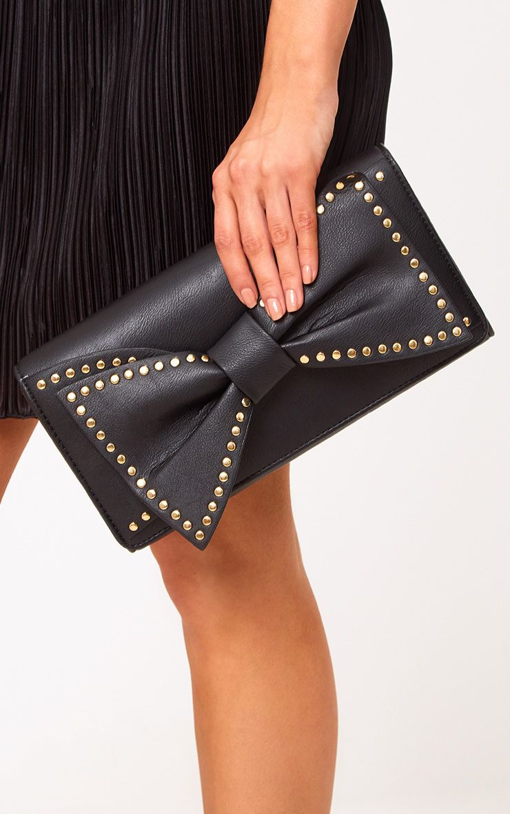 Black Stud Bow Clutch