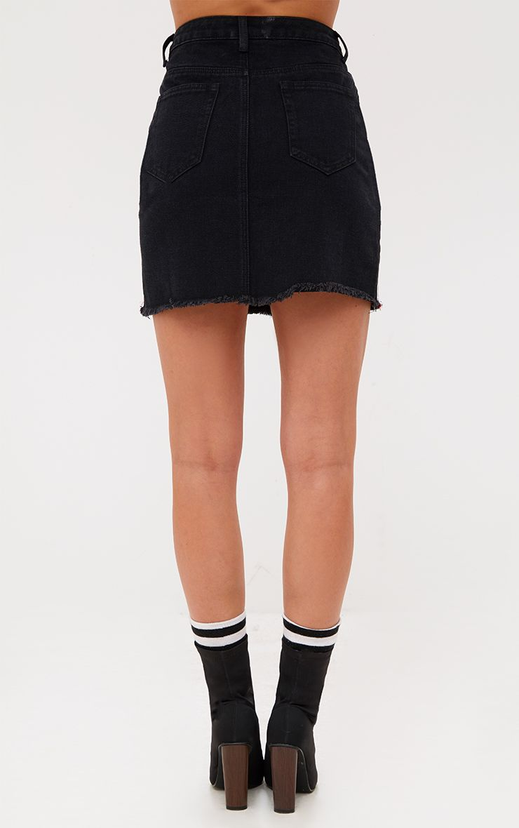 Black Sports Stripe Denim Skirt Skirts Prettylittlething