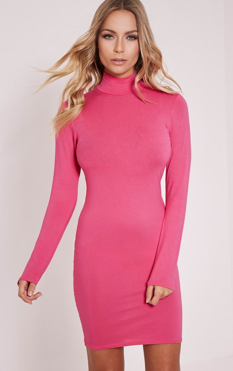Basic Hot Pink Long Sleeve Bodycon Dress 1