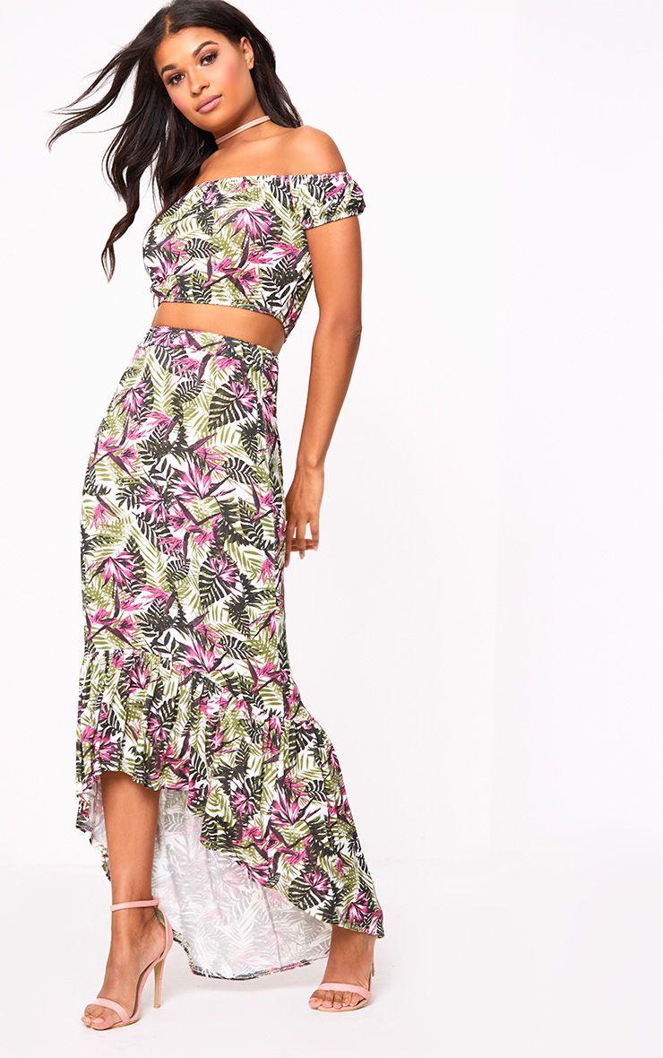 Pink Palm Print Hi Lo Hem Maxi Skirt