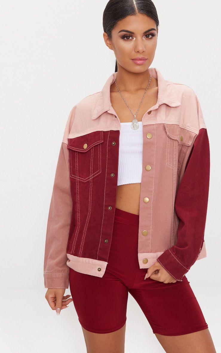 Pink Colour Block Denim Jacket 1