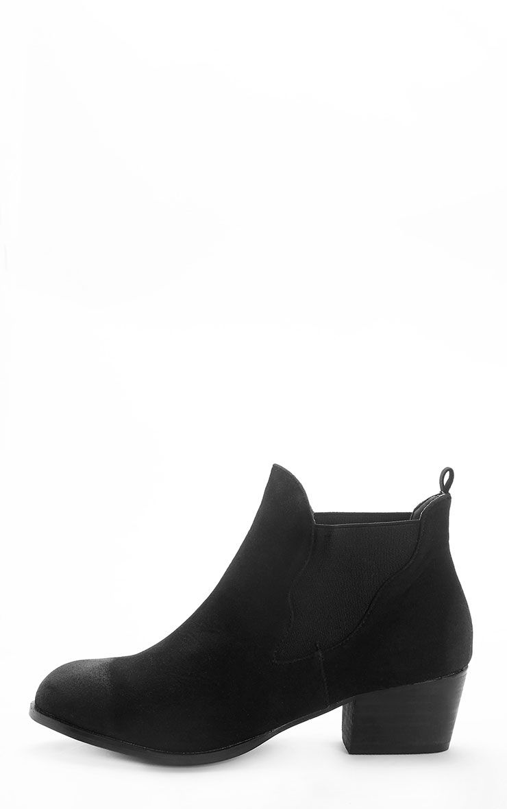 Wilma Black Suede Slip On Ankle Boots 1