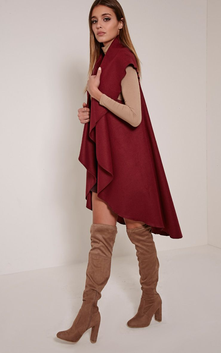 Valerie Burgundy Sleeveless Waterfall Coat 1