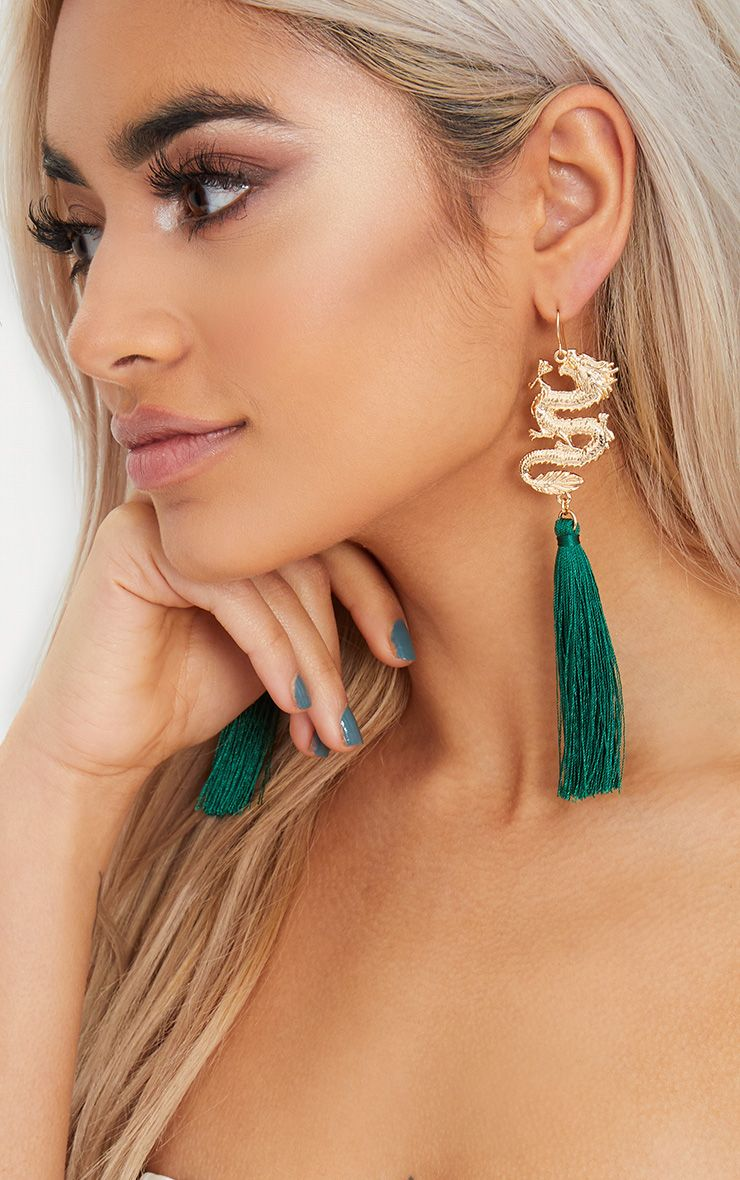 Emerald Green Dragon Drop Tassel Earrings 1