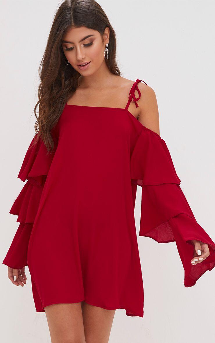 Red Triple Sleeve Shift Dress