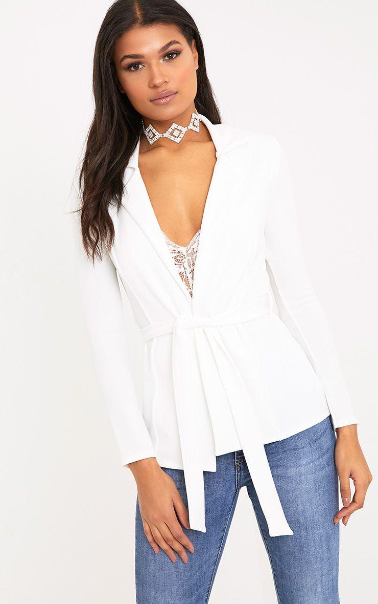 Petite Erma White Belted Blazer