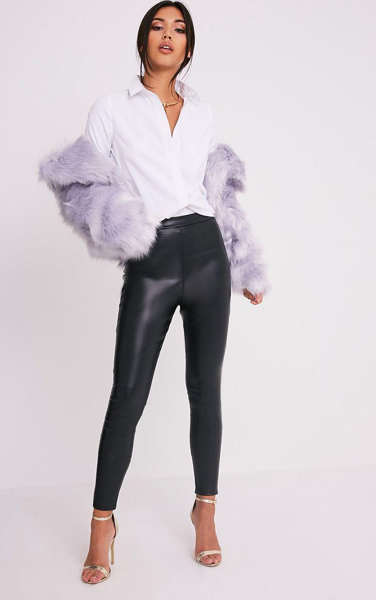 Taryn Black Faux Leather Leggings 1