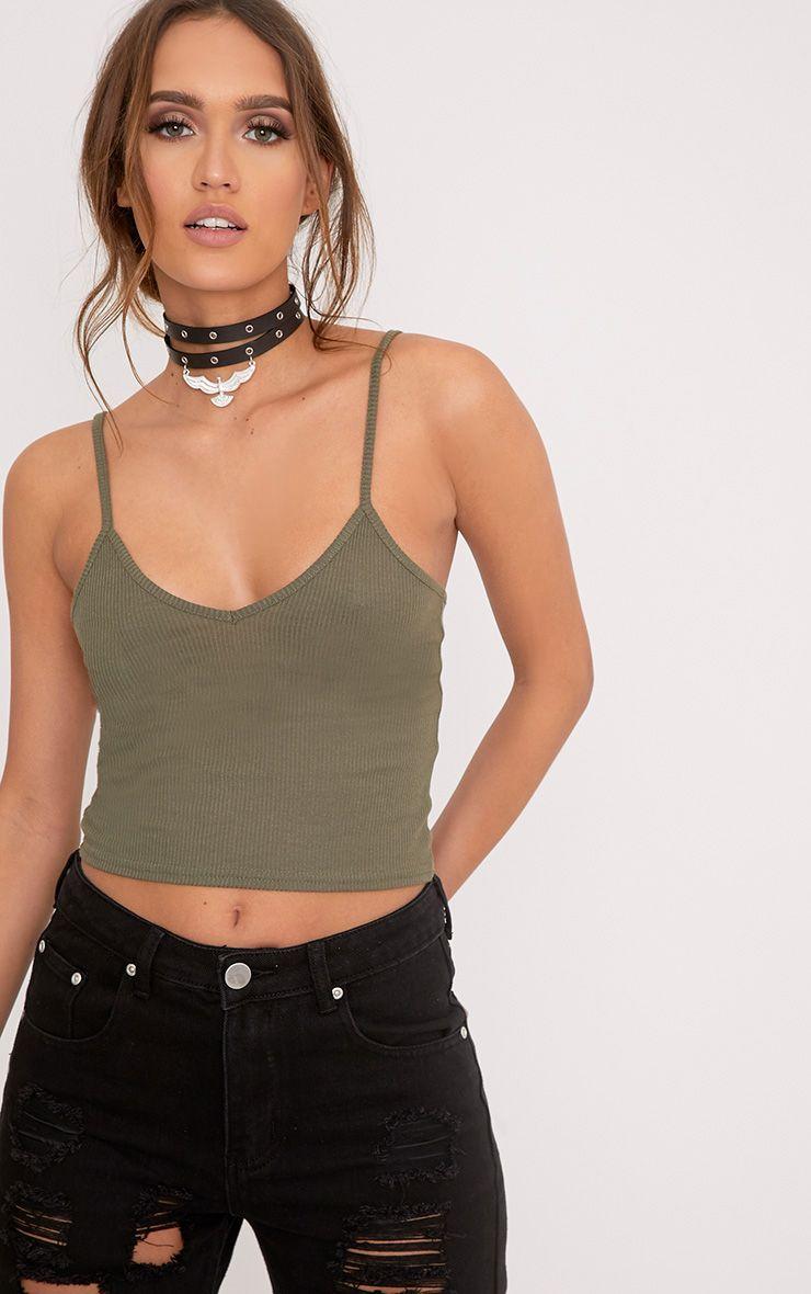 Basic Khaki Strap V-Neck Vest Top 1