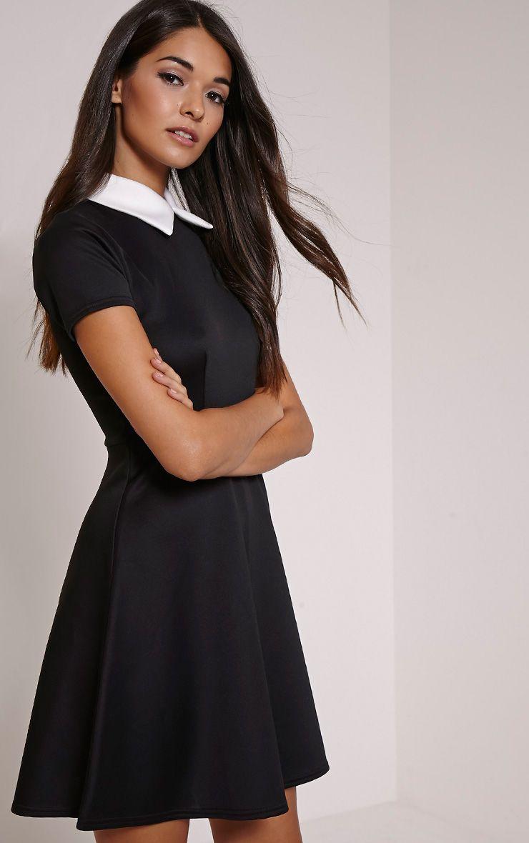 Melanie Black Collar Detail Skater Dress 1
