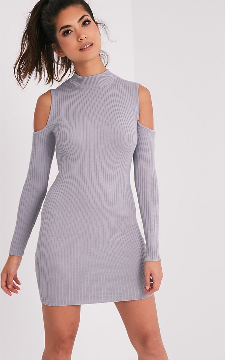 Ysabel Grey Cold Shoulder Ribbed Knitted Mini Dress