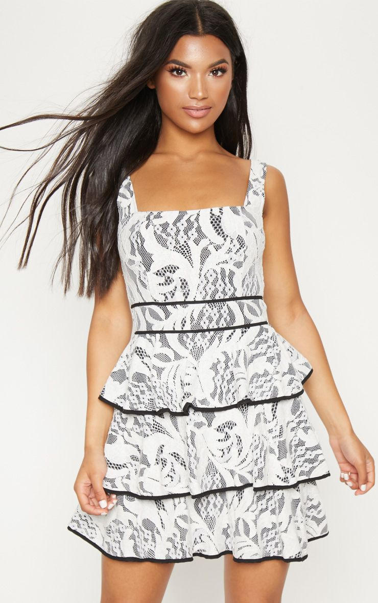 White Lace Square Neck Contrast Trim Tiered Skater Dress
