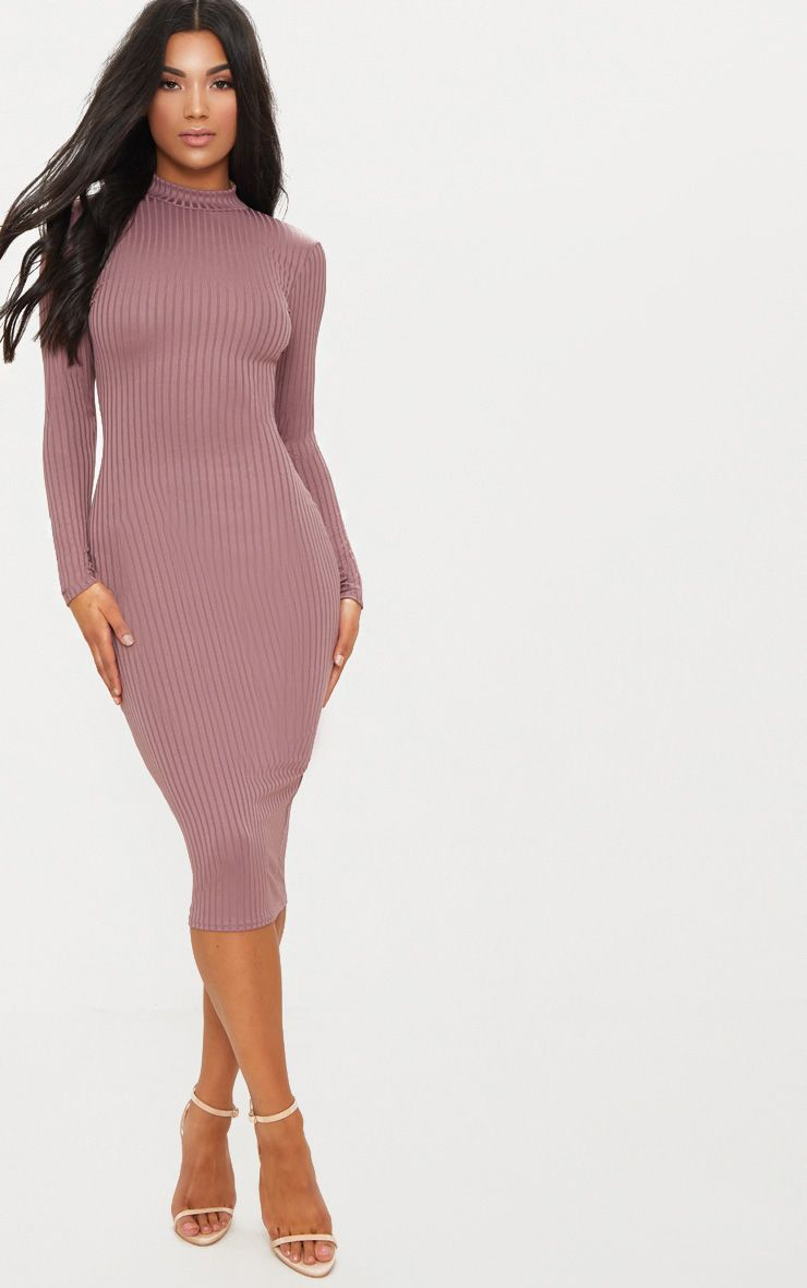Dark Mauve Rib High Neck Long Sleeve Open Back Midaxi Dress