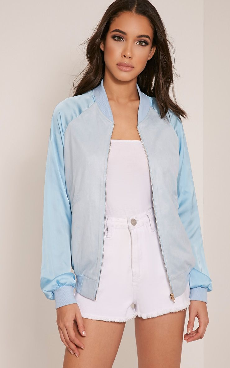 Ivy Baby Blue Faux Suede Contrast Sleeve Bomber Jacket