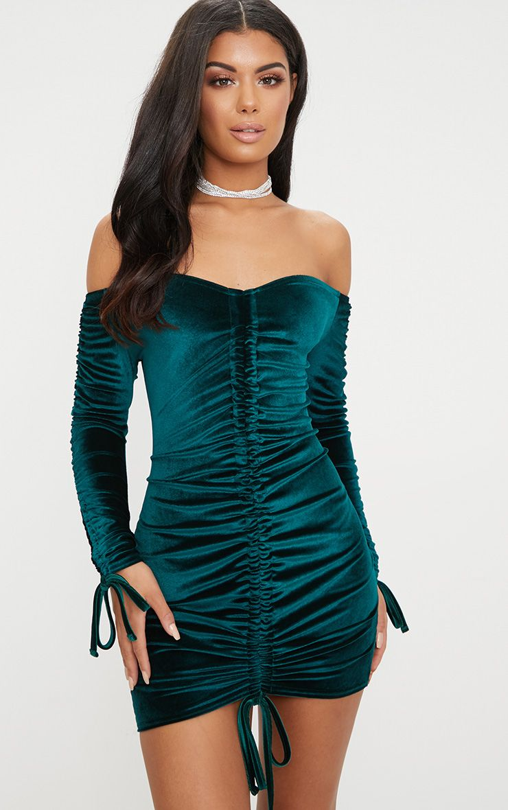 Emerald Green Bardot Velvet Ruched Arm Ruched Front Bodycon Dress