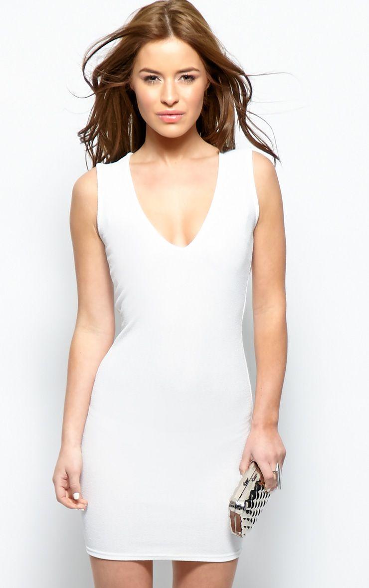 Brooke White Plunge V Neck Bodycon Dress 1
