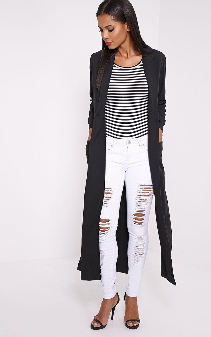 Lois Black Maxi Duster Coat  1