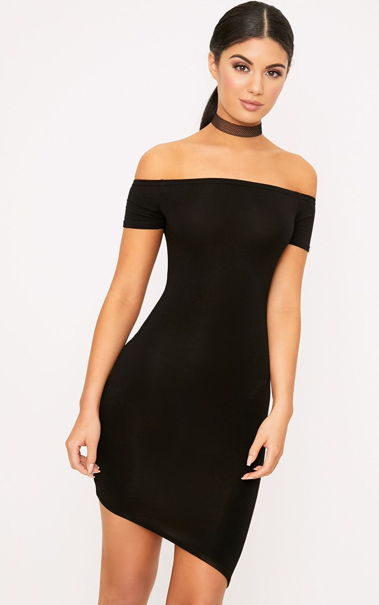 Black Asymmetric Hem Bardot Bodycon Dress 1